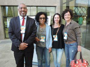 Por ordem: Diretor Presidente, Alexandro Luiz Barbosa, a Pedagoga da Escola Ecumênica, Nelci Fernandes, a Coordenadora de Projetos, Claudiane Pikes e a Vice-Diretora da Escola, Heloane Sozzi.